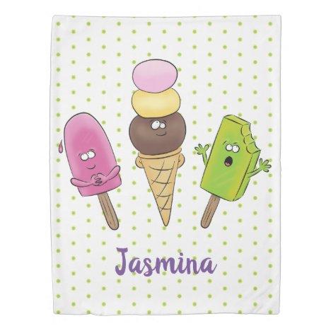 Cute funny ice cream popsicle cartoon trio duvet cover