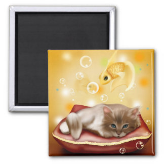 Cute, Funny kitty & Goldfish 2 inch square magnet