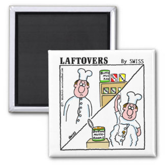 Cute Funny Laftovers Button Mushroom Cartoon 2 Inch Square Magnet