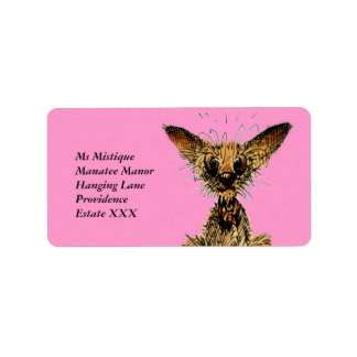 Cute funny little dog label