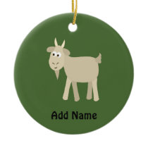 Cute Funny Little Goat Ceramic Ornament