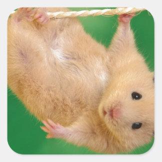 cute funny little guy square sticker