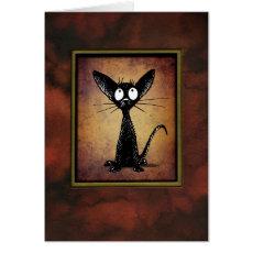 Cute Funny Little Vintage Oriental Black Cat Card