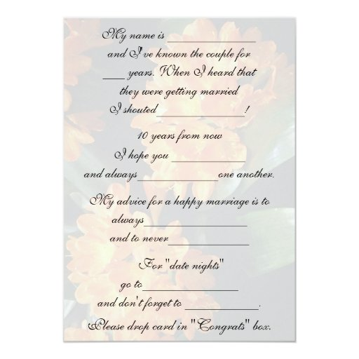 Cute, Funny Marriage Advice For Bride & Groom 5x7 Paper