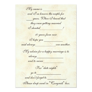 Cute, Funny Marriage Advice for Bride & Groom 5.5x7.5 Paper Invitation Card