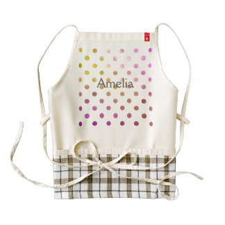 Cute,funny,metallic,pink,polka dot,girly,trendy, zazzle HEART apron