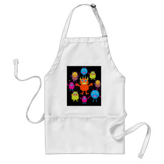 Cute Funny Monster Party Creatures in Circle Adult Apron