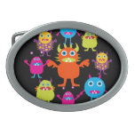 Cute Funny Monster Party Creatures in Circle Oval Belt Buckle