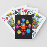Cute Funny Monster Party Creatures in Circle Bicycle Playing Cards