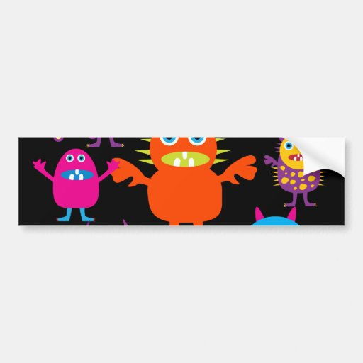 Cute Funny Monster Party Creatures in Circle Bumper Stickers