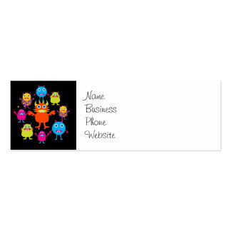 Cute Funny Monster Party Creatures in Circle Double-Sided Mini Business Cards (Pack Of 20)