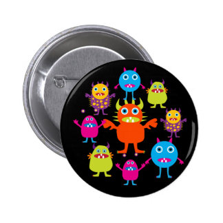 Cute Funny Monster Party Creatures in Circle Button