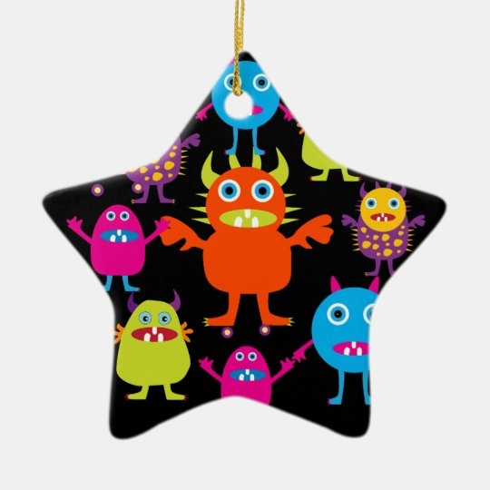 Cute Funny Monster Party Creatures in Circle Ceramic Ornament
