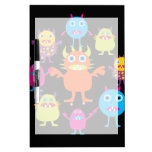 Cute Funny Monster Party Creatures in Circle Dry-Erase Board