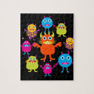 Cute Funny Monster Party Creatures in Circle Jigsaw Puzzle