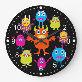 Cute Funny Monster Party Creatures in Circle Large Clock