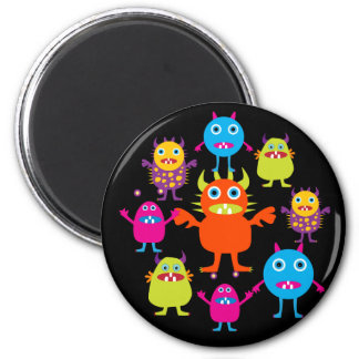 Cute Funny Monster Party Creatures in Circle Magnet