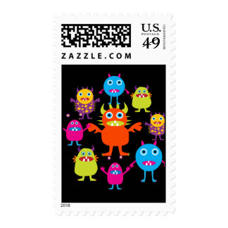 Cute Funny Monster Party Creatures in Circle Stamps
