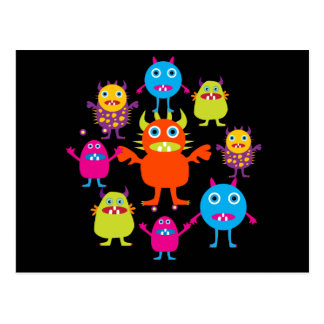 Cute Funny Monster Party Creatures in Circle Postcard