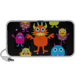 Cute Funny Monster Party Creatures in Circle Laptop Speaker