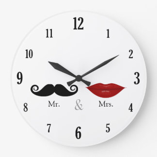 Cute & Funny - Mr. and Mrs. Lips & Mustache Round Wallclock