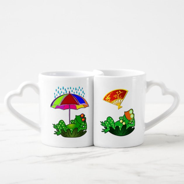 Cute Funny Mr Mrs Frog Cartoon Doodle Coffee Mug Set Zazzle Com