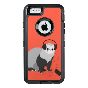 Cute Funny Music Lover Ferret Otterbox Defender Iphone Case by borianag at Zazzle