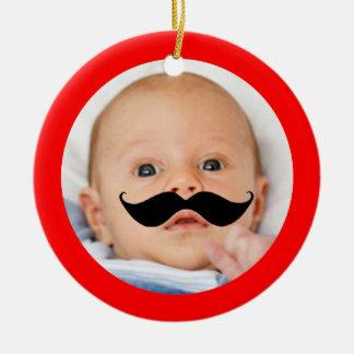 Cute Funny Mustache Baby Photo Little Shaver Ceramic Ornament