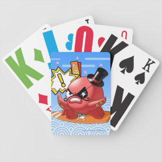 Cute Funny Octopus with Mustache and Blue Sky Bicycle Playing Cards