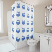 Cute Funny Owl Blue White Pattern Shower Curtain