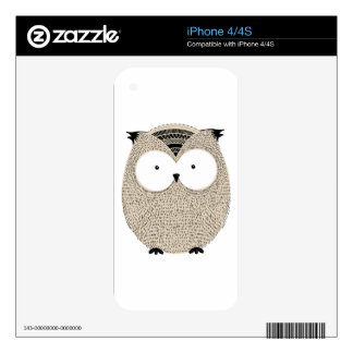 Cute funny owl sketchy illustration decals for iPhone 4S