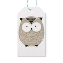 Cute funny owl sketchy illustration gift tags
