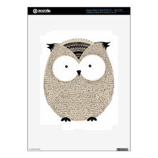 Cute funny owl sketchy illustration iPad 3 skin