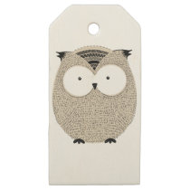 Cute funny owl sketchy illustration wooden gift tags