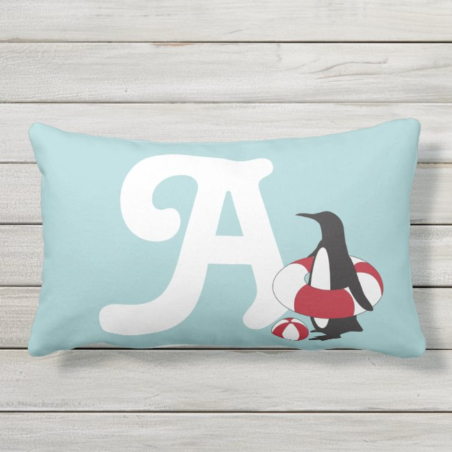 Cute Funny Penguin Swimmer Summer Kids Monogram