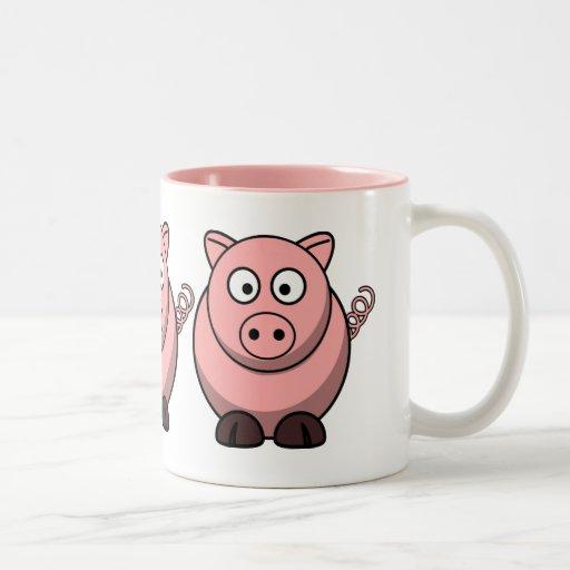 Cute Funny Pig Two-Tone Coffee Mug