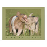 Cute Funny Piglets Birthday Party 4.25x5.5 Paper Invitation Card