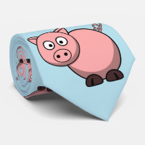 cute funny pink cartoon pig for farmers, or kids. neck tie