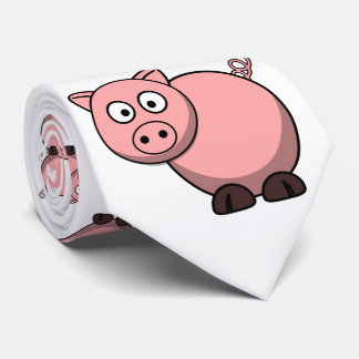 cute funny pink cartoon pig for farmers, or kids. tie