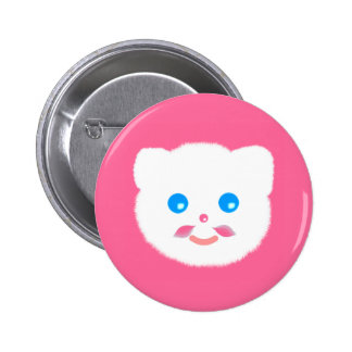 Cute funny pink moustache kitty cat button