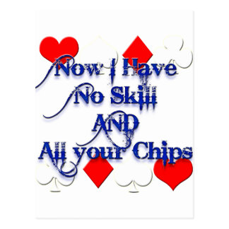 Cute Funny Poker Player has all your chips! Postcard