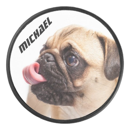 Cute & Funny Pug custom name hockey puck