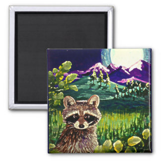 Cute Funny Raccoon Moon Mountains Creationarts LRA 2 Inch Square Magnet
