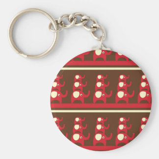 Cute Funny Red Elephants Stacked on Top of Each Ot Basic Round Button Keychain