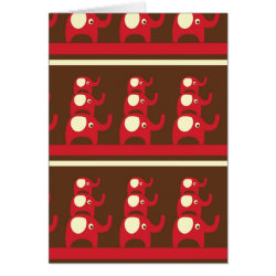 Cute Funny Red Elephants Stacked on Top of Each Ot Card