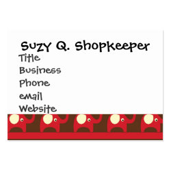 Cute Funny Red Elephants Stacked on Top of Each Ot Large Business Card