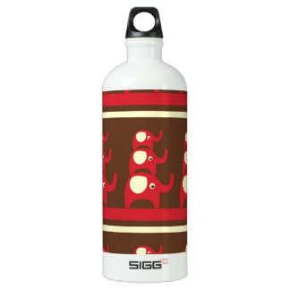 Cute Funny Red Elephants Stacked on Top of Each Ot Water Bottle