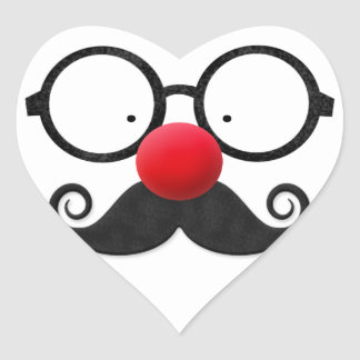 Cute funny red nose round black glasses moustache heart sticker