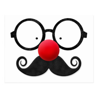 Cute funny red nose round black glasses moustache postcard