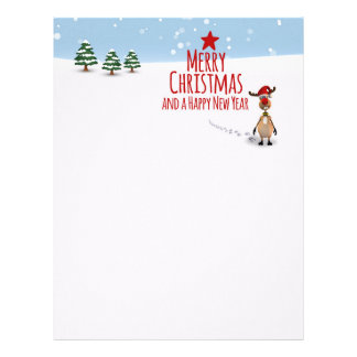 Cute Funny Reindeer Christmas Tree - Letterhead